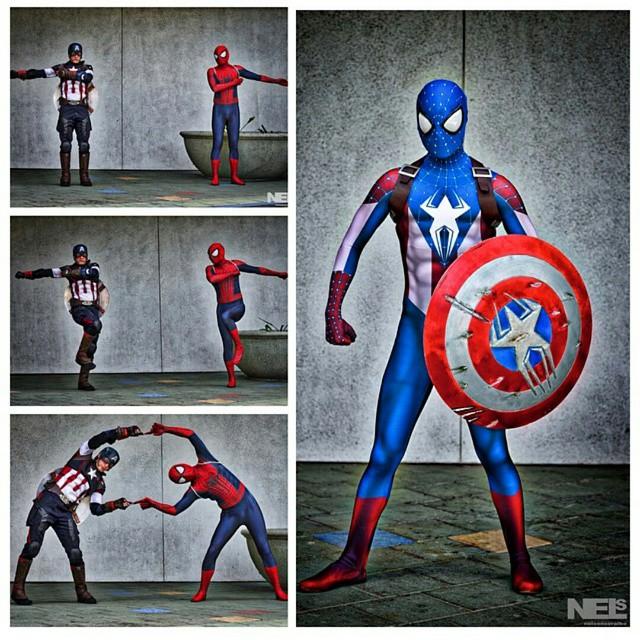 Картинки человека паука и капитана америки