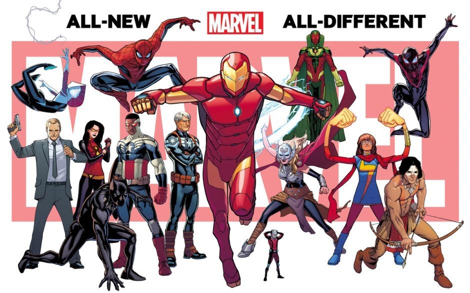 Слева направо: Спайдер-Гвен, Фил Колсон, Женщина-Паук, Черная Пантера, Капитан Америка, Стив Роджерс, Железны Человек, Человек Муравей, Тор, Вижн, Мисс Марвел, красный Волк и Человек Паук (Майл Моралес)