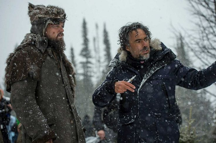 "An undated handout photo of director Alejandro G. Inarritu, right, working with Leonardo DiCaprio during the making of ""Revenant."""