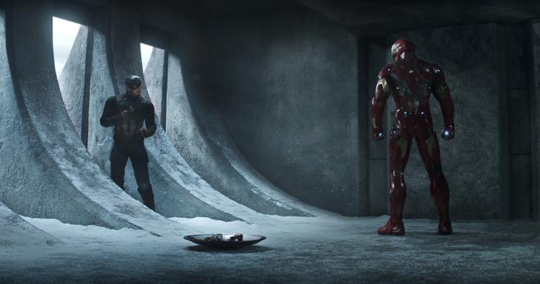 Marvel's Captain America: Civil War..L to R: Captain America/Steve Rogers (Chris Evans) and Iron Man/Tony Stark (Robert Downey Jr.)..Photo Credit: Film Frame..© Marvel 2016